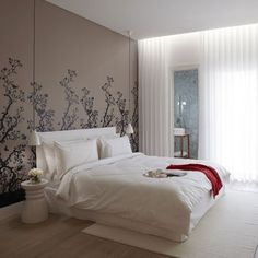 Like the idea of the bed wall being wallpapered, and the hanging lights. I'm getting ready to renovate our bedroom.