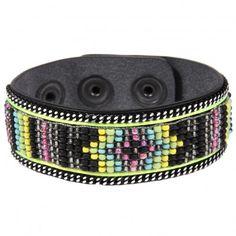 Bracelet en cuir noir Yuma avec perles Jaune  Opale