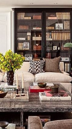 glass front bookcase, cushy linen sofa, big coffee table, subdued neutral palette, antique books
