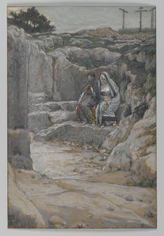 James Tissot - The Two Marys Watch the Tomb (Les deux Maries observent le tombeau). Series: The Life of Our Lord Jesus Christ (La Vie de Notre-Seigneur Jésus-Christ) (fragment). 1886-1894. Brooklyn Museum, New York