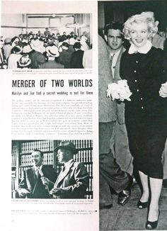 Marilyn Monroe and Joe DiMaggio, vintage magazine article about their January 14th 1954 wedding.