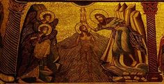 Immersion Baptism of Christ mosaic (created 1225-1300), baptistery of Florence, photo taken April, 2012.