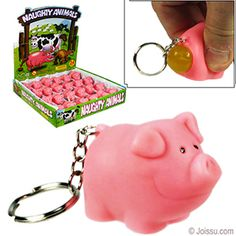 NAUGHTY PIG KEYCHAINS. Shock your friends when you ask them to squeeze your keychain and see what happens. Size 2 Inch Pig, 1.5 Inch keychai