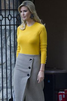 Ivanka Trump wearing Zara Checked Wrap Style Midi Skirt and Zara Sweater With Pearly Cuffs in Mustard