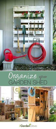 Organize Your Garden Shed #Pallets #gardenshedideas