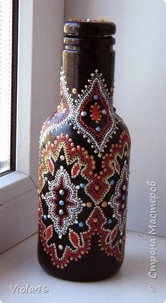 Декор предметов Роспись Моя точкомания Банки стеклянные Бутылки стеклянные Картон Стекло фото 6