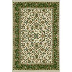 "American Home Rug Co. American Home Classic Kashan Ivory/Emerald Area Rug Rug Size: 8'6"" x 11'6"""