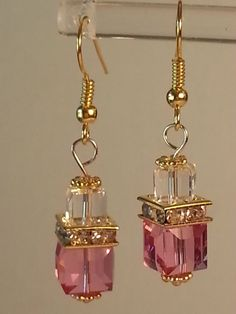 Gold Plated Swarovski 8mm Crystal Cube by InfiniteWishesGifts, $25.00