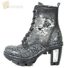 Stiefeletten 6,5cm Damen Plateau Stiefel Grau Metall Blumen Jeans Destroyed