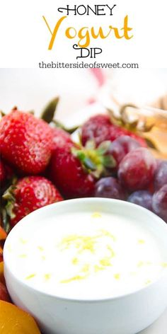 This Easy Honey Yogurt Dip is flavored with honey, lemon zest and vanilla! Top this homemade with granola or serve with fresh fruits! | The Bitter Side of Sweet Best Appetizer Recipes, Best Appetizers, Easy Healthy Recipes, Easy Dinner Recipes, Sweet Recipes, Whole Food Recipes, Breakfast Recipes, Vegan Recipes, Easy Meals
