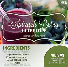 The Spinach Berry Juice. This is a very awesome juice recipe. We all know that berries bring a lot of good things in our bodies. Anti-oxidation benefits and detoxification to name a few. Try this because it's going to be good for you. #spinach #strawberries #blueberries #apple