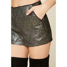 Forever21 Metallic Textured Shorts (16 BRL) via Polyvore featuring shorts, woven shorts, highwaist shorts, high waisted metallic shorts, shiny shorts e back zip shorts