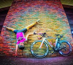 Cyclist Amanda Kenny shows her excitement for the long holiday weekend. Impressive, right?