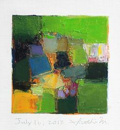 July 16, 2012 - Original Abstract Oil Painting - 9x9 painting (9 x 9 cm - app. 4 x 4 inch) with 8 x 10 inch mat  by Hiroshi Matsumoto  http://www.etsy.com/listing/104505536/july-16-2012-original-abstract-oil