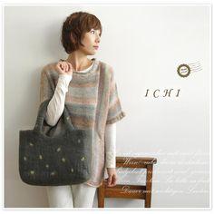 *【ICHI  イチ】wool dot tote / ウール ドット トート バック (ky0184)
