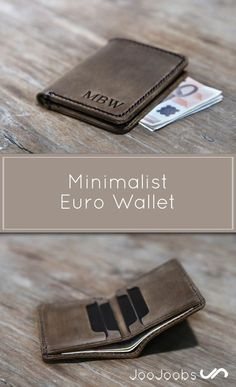 Check out this Awesome Minimalist Euro Wallet I found at JooJoobs! Leather Wallet Pattern, Handmade Leather Wallet, Leather Card Wallet, Leather Gifts, Leather Briefcase, Briefcase For Men, Leather Craft, Leather Men, Men Wallet