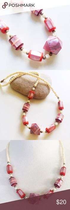 """Vintage Mother of Pearl Necklace Vintage necklace with mother of pearl decorated beads. Coral colored accent beads mixed with natural beige beads. Great vintage condition. Pretty light weight. Total length: 19.5"""". Vintage Jewelry Necklaces"""