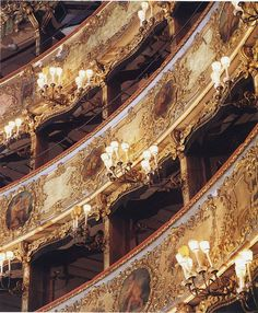 La Fenice - the opera house of Venice - tiers of boxes. Bologna, Places Ive Been, Places To Visit, Non Plus Ultra, Ap Studio Art, Venice Travel, Concert Hall, Venice Italy, Opera House