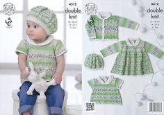 Baby-Drifter-DK-Knitting-Pattern-King-Cole-Lace-Effect-Top-Dress-Jacket-Hat-4312