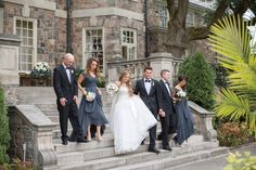 Long grey blue bridesmaid gowns