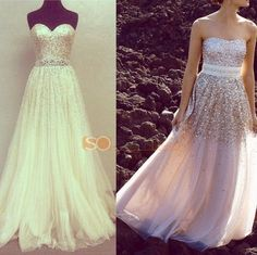 2014 StraplessSequins Champagne Prom Dresses Long Evening Party Formal Gowns New