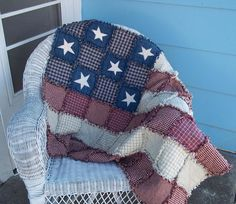 Rag Quilt Betsy Ross Lap Quilt Ready to by TheLaughingBlackbird, $125.00