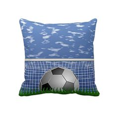 Soccer Ball Goal. Unique, trendy, fashionable and decorative throw pillow. With contemporary image of soccer ball and goal on green grass. Made for the soccer sport lover, fan or player. Cute boy's or girl's, soccer playing kid's, mom's or dad's birthday present, Mother's or Father's day, or Christmas gift. Original, cool and fun pillow for the master, boys or children's bedroom, man cave, living or family room, patio or deck, cabin, beach house, cottage, river or lake vacation home.
