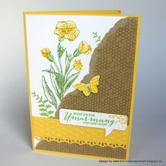 """#Schmetterlingsgruß"" in Gelb- und Grüntönen   http://eris-kreativwerkstatt.blogspot.de/2015/04/schmetterlingsgru-in-gelb-und-gruntonen.html  #stampinup #karte #geburtstag #teamstampingart"