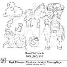Printable Christmas Nativity Coloring Pages. Print on shrink plastic and make your own Nativity ornaments. Use as digital stamps for making cards and the Nativity Story. All artwork is digital downloads - Clip Art in JPG, PNG and EPS files for use in many different ways. Artist - Gina Jane for www.daisiecompany.com