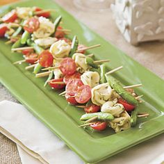 Mustard-Dill Tortellini Skewers -- a great way to serve veggies as an appetizer without the normal carrots and ranch dressing.  The dressing does make them slightly higher in calories (though not worse than the ranch dressing). I used the Buitonni refrigerated cheese tortellini.  The most time consuming part was putting everything on skewars.
