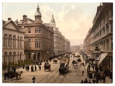 Photochrom prints of Ireland taken between 1890 and 1900 and organized by county, courtesy of the Library of Congress. County Antrim, Royal Avenue, Belfast