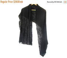 Black lace scarf cotton jersey black scarf by BestOffersBoutique