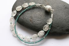 Crackle glass bracelet with seed beads and magnetic clasp. £12.00 by Thistledown Wishes on Etsy and Folksy