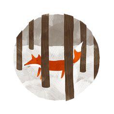 Hide and Seek Print - 5x7 Childrens Art Fox Illustration on Etsy, $18.97
