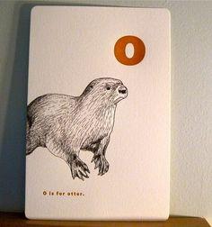 Letterpress otter print. I love otters!