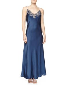 La Perla Maison Floral Lace Embroidered Long Gown & Robe, Blue/Gray £683