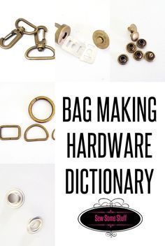 Can you name these bag making hardware? Test your knowledge on bag making hardware and find out what they are. Handmade Handbags, Handmade Bags, Purse Patterns, Sewing Patterns Free, Sewing Hacks, Sewing Tutorials, Sewing Tips, Sewing Projects For Beginners, Sewing Techniques