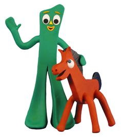 Gumby and Pokey! In the mid-1960's, my grandmother worked at the factory that made these and other rubby items in Torrance, CA, or nearby. She was badly injured in an explosion at the factory, but recovered. We got lots and lots of these...