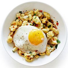 Roasted Cauliflower with a Fried Egg  I made this and it is amazing!  Add the whole can of anchovies. Great flavor!