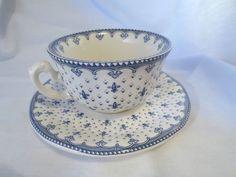 La Cartuja de Sevilla Cup Saucer Aurora Flor de Lis Fine China Porcelain Spain | $24.95 Free Shipping