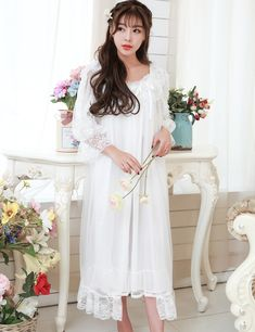 Lace nightgown two-piece robe set for women long-sleeved What a beautiful image Visit us