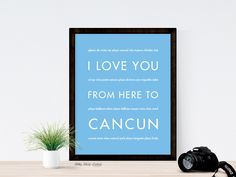 I Love You From Here To CANCUN art print