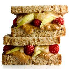 Almond Butter and Fruit Sandwich   MyRecipes.com #myplate #protein #fruit #grain