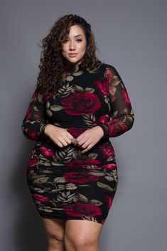 Plus Size Romantic Floral Mesh Mini Dress