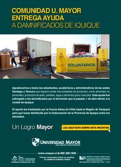 La UMayor entrega ayuda a los damnificados de Iquique #umayor #solidaridad #estudiantes