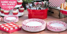 Our Picnic Party supplies are red, white and cute all over! These picnic-themed party supplies include gingham tablecloths, paper cups, red and white plates and more! Gingham Party, Red Gingham, Picnic Themed Parties, Picnic Party Favors, Baby Q Shower, Baby Shower Barbeque, Church Picnic, Picnic Decorations, Picnic Birthday