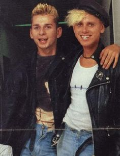 Dave Gahan and Martin Gore of Depeche Mode when they were very young....
