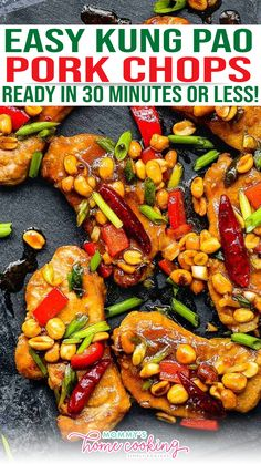 Jazz up your weeknight dinner with these Easy Kung Pao Pork Chops!! They're super easy to make and full of flavors. It will be ready in 30 minutes or less. I'm all about making weeknight meals a little easier without giving up any flavors, but sometimes that is not an easy task, but these Kung Pao Pork Chops check all the boxes! | @mommyhomecookin #easyasiandinnerrecipes #bestegglessdinnerrecipes #egglessbaking Asian Dinner Recipes, Easy Asian Recipes, Quick Dinner Recipes, Delicious Recipes, Pork Chop Recipes, Chicken Recipes, Weeknight Meals, Easy Meals, Pork Chops