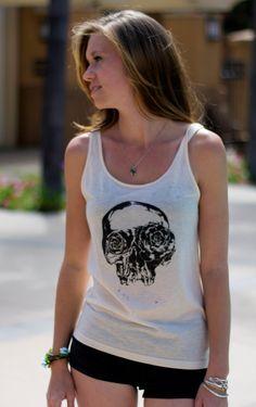 Skeleton Skull w/ Flowers Tank Top // Graphic Art Screenprint Tank Top // Ladies Style & Fashion by SargentIllustration, $30.00