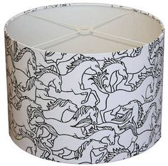 Lightshade in Horses Stampede This is one of our favourite lightshades. Made in Florence Broadhurst's Horses Stampede fabric, with black outlines on a white basecloth, this is a contemporary and striking shade. Florence Broadhurst, Cushions Online, Custom Products, Outlines, Lampshades, Creative Ideas, Bathroom Ideas, Horses, Interiors